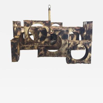 Tom Greene Cubist Style Brutalist Chandelier by Tom Greene for Feldman