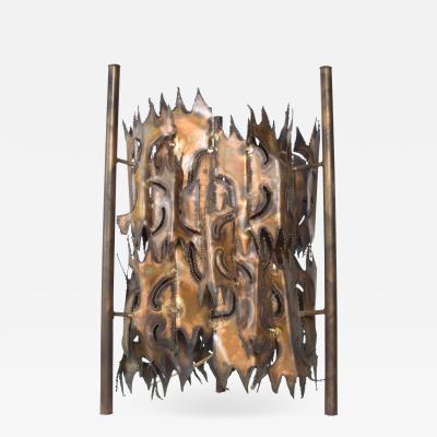 Tom Greene Mid Century Brutalist Brass Torch Cut Table Lamp After Tom Greene