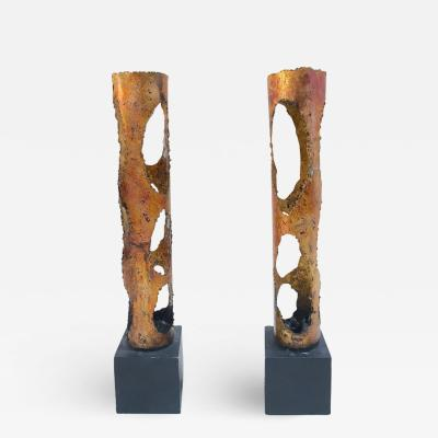 Tom Greene Pair of Torch Cut Candle Holders in the Manner of Tom Greene
