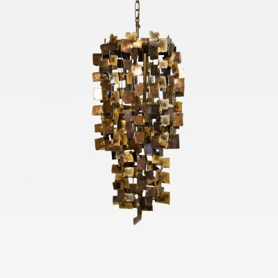 Tom Greene Tom Greene Brutalist Chandelier for Feldman in Torch Cut Brass 1960s