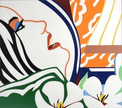 Tom Wesselmann Tom Wesselmann Serigraph Bedroom Face with Orange Wallpaper