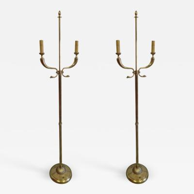 Tomaso Buzzi Pair Italian Mid Century Brass Floor Lamps Attributed Tomaso Buzzi and Gio Ponti