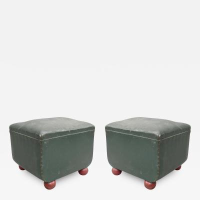 Tomaso Buzzi Pair of Italian Early Modern Stools or Ottomans with Red Ball Feet