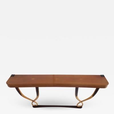 Tomaso Buzzi large important inlaid cherrywood wall console by Tomaso Buzzi 1940