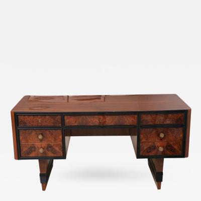 Tomasso Buzzi Italian Burl Walnut Walnut and Ebonised Desk Tomasso Buzzi