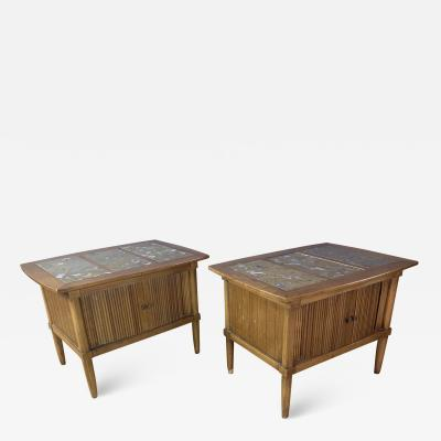 Tomlinson Furniture Co 1950s Pecan Wood End Tables Portuguese Marble Tops Tomlinson Usa
