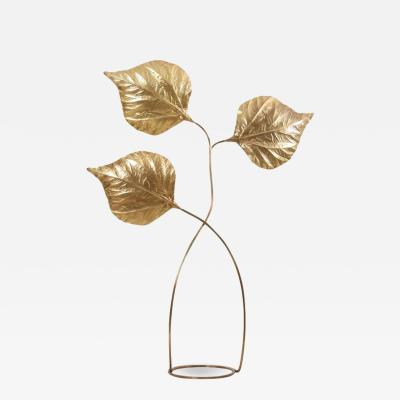 Tommaso Barbi 1 of 2 Huge Three Rhubarb Leaves Brass Floor Lamp by Tommaso Barbi