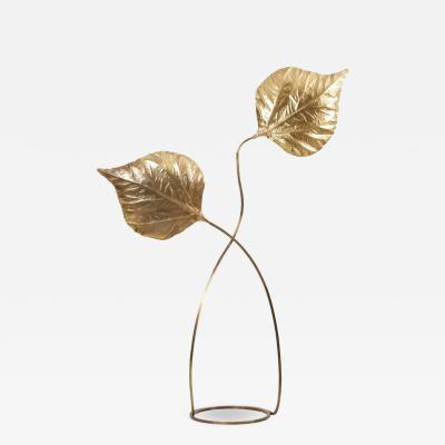 Tommaso Barbi 1 of 2 Huge Two Rhubarb Leaves Brass Floor Lamp by Tommaso Barbi