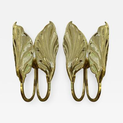 Tommaso Barbi A Pair of Italian Mid Century Tommaso Barbi Brass Sconces