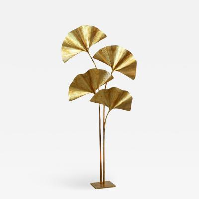 Tommaso Barbi Huge Four Ginkgo Leaf Brass Floor Lamp by Tommaso Barbi