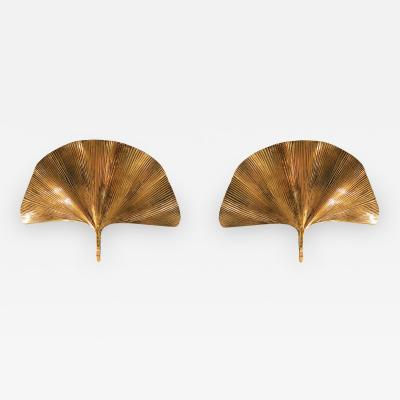 Tommaso Barbi Large Brass Ginkgo Mid Century Modern Italian Pair Sconces by T Barbi