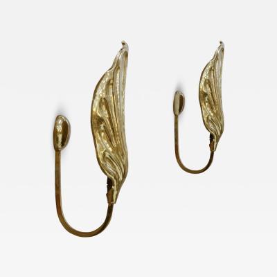 Tommaso Barbi Mid Century Modern Tommaso Barbi Brass Italian Pair of Sconces