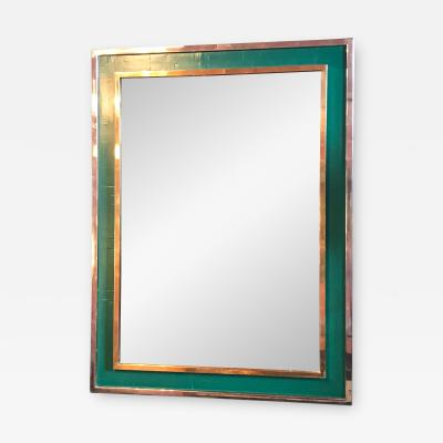 Tommaso Barbi Midcentury Tommaso Barbi Green Mirror in Chrome and Brass Italy 1970s