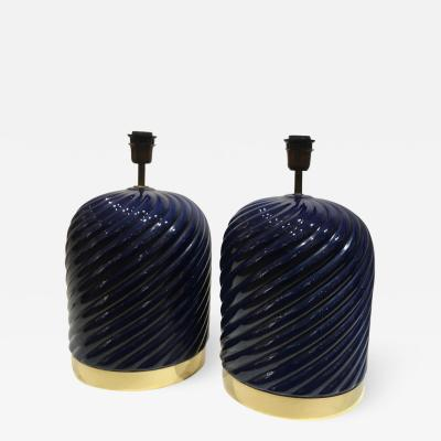 Tommaso Barbi Pair of Blue Ceramic Spiral Table Lamps Designed by Tommaso Barbi Italy