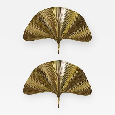 Tommaso Barbi Pair of Huge Ginkgo Leaf Brass Wall Lights or Sconces by Tommaso Barbi