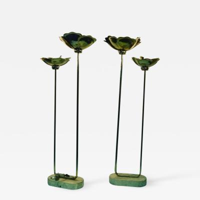 Tommaso Barbi Pair of Monumental Italian Lamps by Tommaso Barbi with Travertine Bases