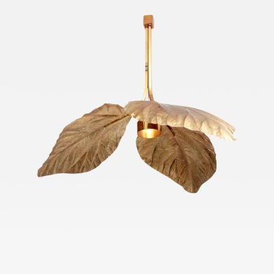 Tommaso Barbi Rare Huge Rhubarb Leaf Brass Chandelier by Tommaso Barbi