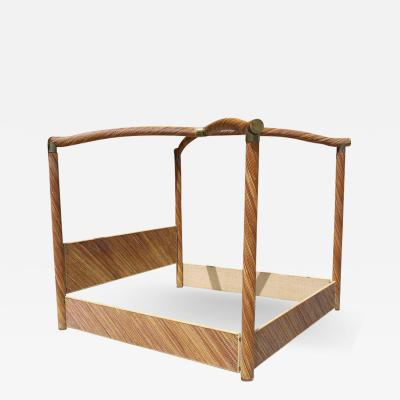 Tommaso Barbi Rattan and Brass King Size Bed