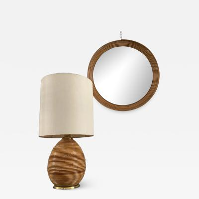 Tommaso Barbi Round Mirror and Table Lamp in Bamboo and Brass