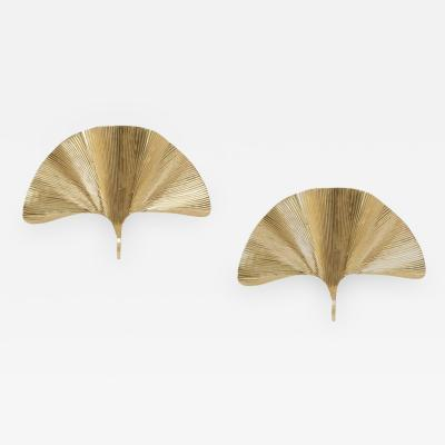 Tommaso Barbi Set of 2 Huge Ginkgo Leaf Brass Wall Lights or Sconces in the manner of Tommaso