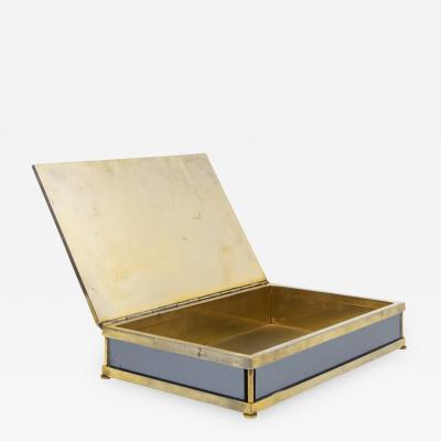 Tommaso Barbi Signed Jewelry Box in Mirrored Glass and Brass 1970s