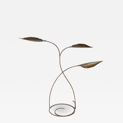 Tommaso Barbi Tommaso Barbi 1970s Italian Brass Leaf Floor Lamp