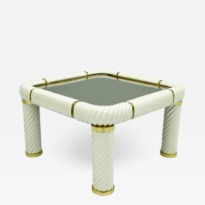 Tommaso Barbi Tommaso Barbi Coffee Table in Ceramic Brass and Glass Italy 1970s