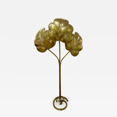 Tommaso Barbi Tommaso Barbi Italian Mid Century Brass Three Leaf Floor Lamp