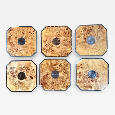 Tommaso Barbi Tommaso Barbi Set 6 Octagonal Plates Tablemat in Wood and Chrome Italy 1960s