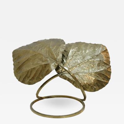 Tommaso Barbi Tommaso Barbi Table Lamp Composed of Leaves Made in Brass Italy 70s