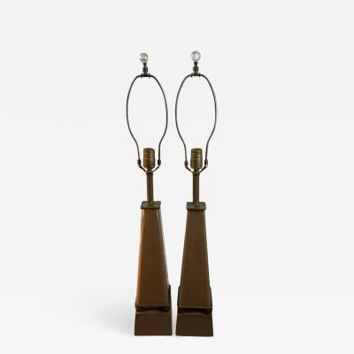Tommi Parzinger 1940S PAIR OF GLASS AND BRASS OBELISK LAMPS