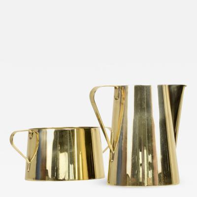 Tommi Parzinger 1960s Creamer and Sugar Bowl by Tommi Parzinger for Dorlyn Brass Midcentury