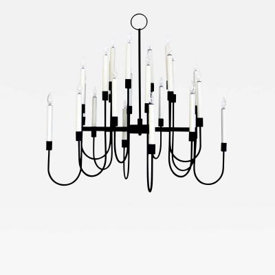 Tommi Parzinger A Stylish Black Enameled Metal 12 Arm Chandelier Tommi Parzinger
