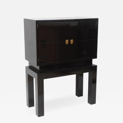 Tommi Parzinger American Modern Black Lacquered Bar Cabinet Tommi Parzinger