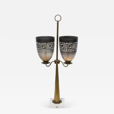 Tommi Parzinger American Modern Brass Glass and Marble Lamp Style of Tommi Parzinger