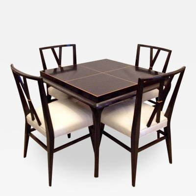 Tommi Parzinger Card or Small Dining Table Four Double X Back Chairs