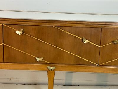 Tommi Parzinger EXCEPTIONAL MID CENTURY BRASS BUTTERFLIES SIDEBOARD