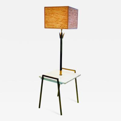 Tommi Parzinger Exceptional Marble Brass Metal Floor Lamp Table Attributed to Parzinger