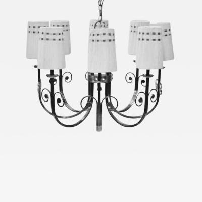 Tommi Parzinger Highly Important Rare Tommi Parzinger Hand Made Nickel Finish Chandelier