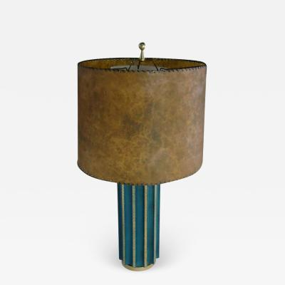Tommi Parzinger Leather Fluted Table Lamp in the Style of Tommi Parzinger