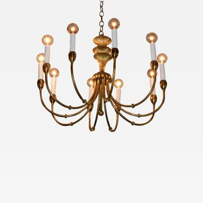 Tommi Parzinger Mid Century Modern Tommi Parzinger Style Brass and Resin Chandelier