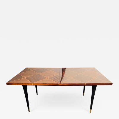 Tommi Parzinger Mid Century Modern Tommi Parzinger Tagged Dining Table with Two Leaves