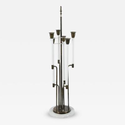 Tommi Parzinger Modern Brass and Marble Tommi Parzinger Table Lamp