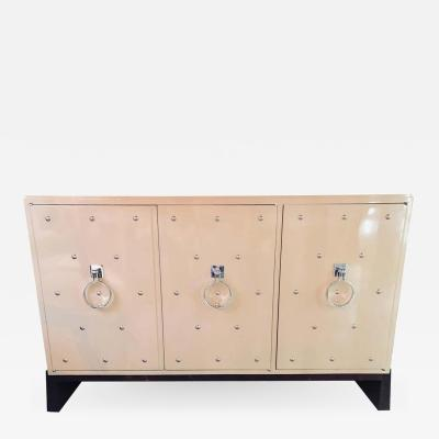 Tommi Parzinger Modern Tommi Parzinger Three Door Studded Lacquered Cabinet Commode Credenza