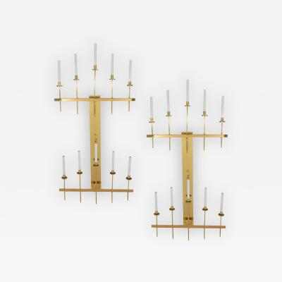 Tommi Parzinger Monumental Pair of Modernist Brass Sconces attributed to Tommi Parzinger