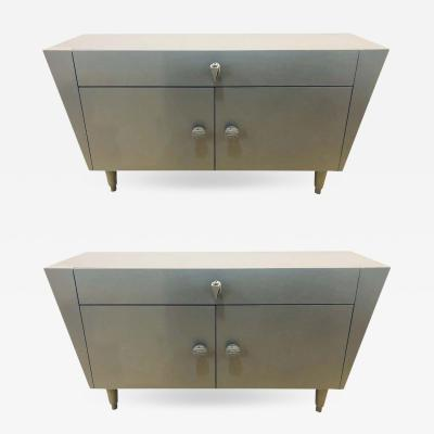 Tommi Parzinger Painted Gray Mid Century Modern Cabinets Chests Nightstands or Commodes a Pair