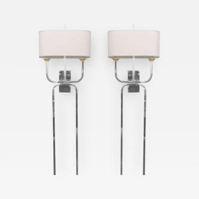 Tommi Parzinger Pair Chrome Wall Lights Style of Tommi Parzinger