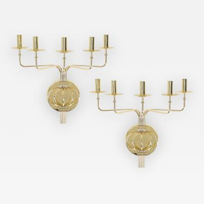 Tommi Parzinger Pair of 1950s Tommi Parzinger Brass Wall Candelabras