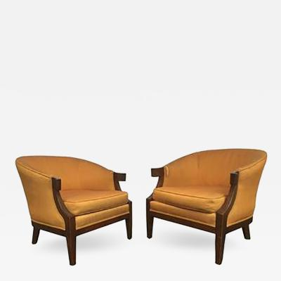 Tommi Parzinger Pair of Art Deco Slipper Chairs in the manner of Tommi Parzinger