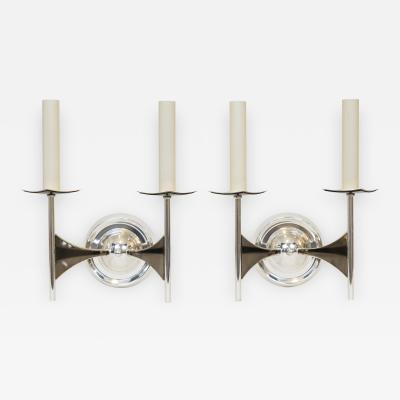 Tommi Parzinger Pair of Brutalist Modernist Wall Sconces Attributed to Tommi Parzinger